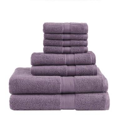8pc Cotton Bath Towel Set Light Purple