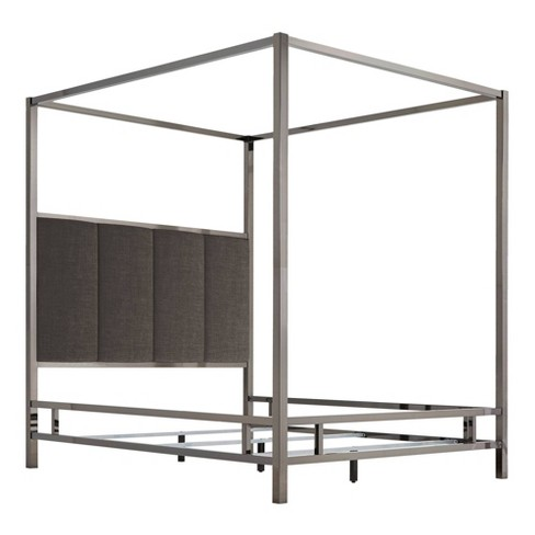 Manhattan Black Nickel Canopy Bed with Vertical Panel Headboard - Inspire Q - image 1 of 2