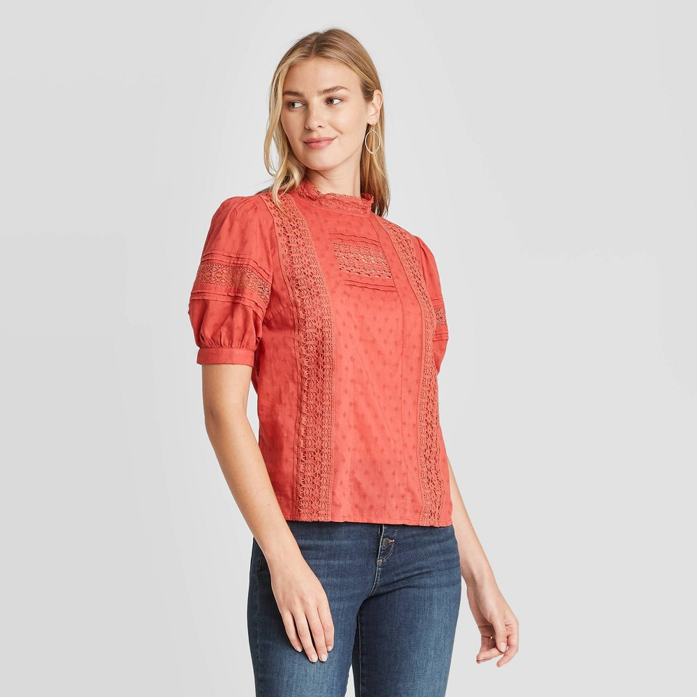 Best Woen's Puff Elbow Sleeve Eyelet Blouse - Universal Thread™