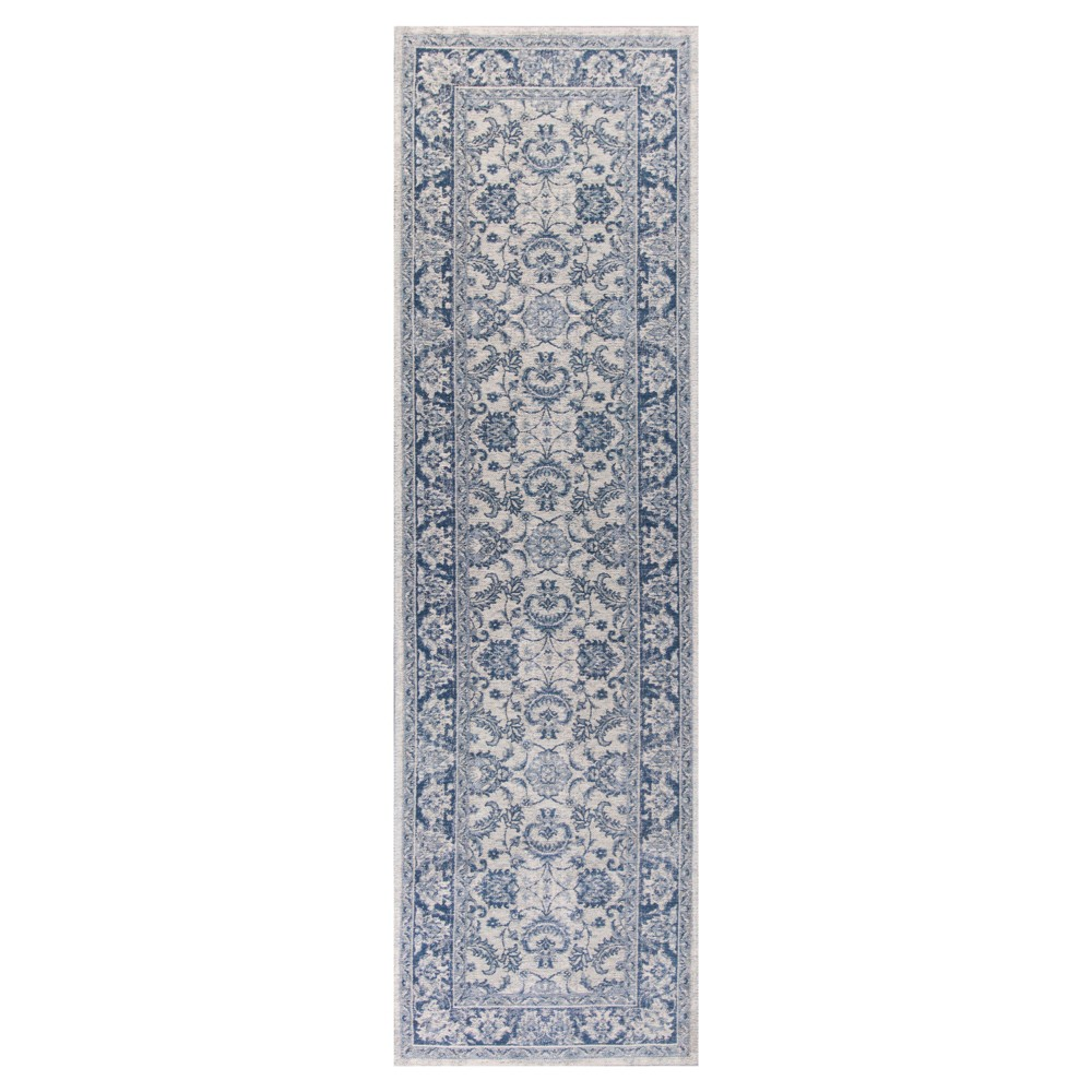 "Image of ""Slate Blue Damask Pressed/Molded Runner 2'2""""x7'6"""" - KAS Rugs, Size: 2'2"""" x 7'6"""" Runner"""