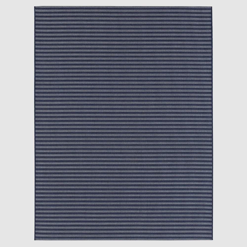 9' x 12' Stripe Outdoor Rug Blue - Smith & Hawken
