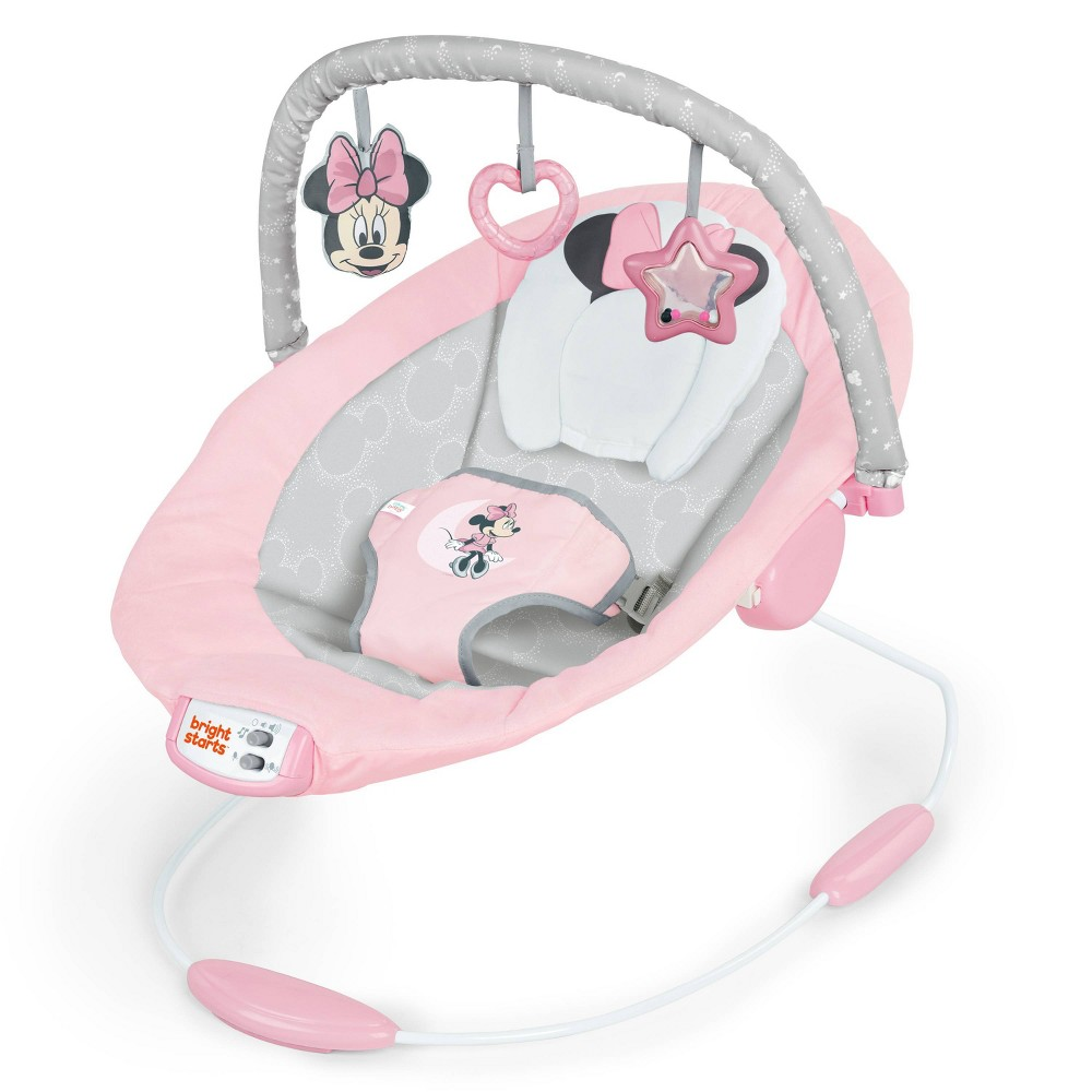 Image of Bright Starts Minnie Mouse Rosy Skies Cradling Baby Bouncer - Pink