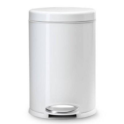 Studio 4.5L Round Step Trash Can White/Steel - Simplehuman
