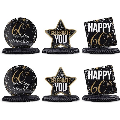 Sparkle and Bash 6 Pcs 60th Birthday Party Supplies Honeycomb Centerpieces Table Decorations, 12 x 11 inches