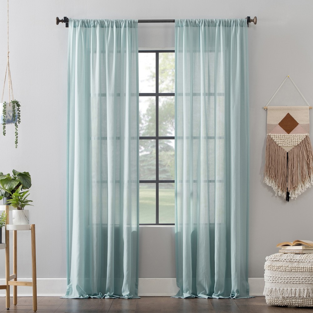 "Image of ""52""""x63"""" Leno Weave Stripe Anti-Dust Curtain Panel Aqua - Clean Window, Blue"""