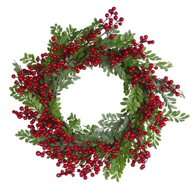 Northlight Red Berries and Two Tone Leaves Artificial Christmas Wreath - 20 inch, Unllit