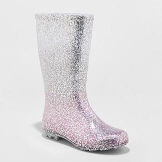 Girls Evelyn Glitter Rain Boots - Cat & Jack™ Silver 2