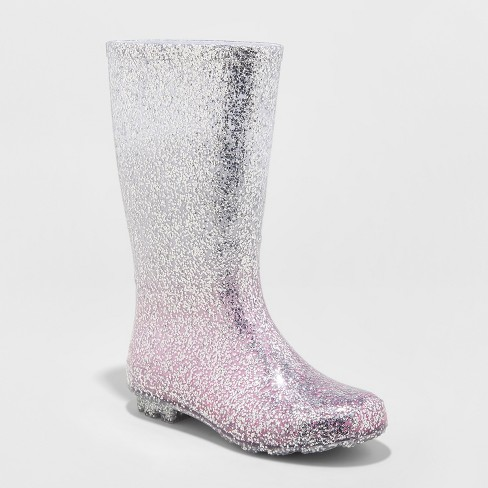 4cd4a8e190cfe Girls  Evelyn Glitter Rain Boots - Cat   Jack™ Silver   Target