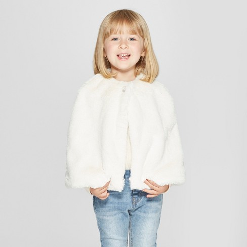 a8d2d63bfbd2 Toddler Girls  Faux Fur Cape - Cat   Jack™ Cream   Target