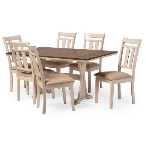 Roseberry Chic French Country Cottage Antique Oak Wood and Distressed  Dining Table White - Baxton Studio