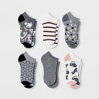 Women's Playful Cats 6pk Low Cut Socks - Xhilaration™ Gray/White 4-10