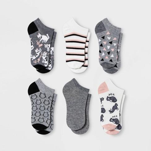 Women's Playful Cats 6pk Low Cut Socks - Xhilaration™ Gray/White 4-10 - image 1 of 2
