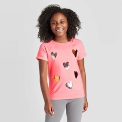 Girls' Short Sleeve Hearts Flip Sequin T-Shirt - Cat & Jack™ Neon Coral