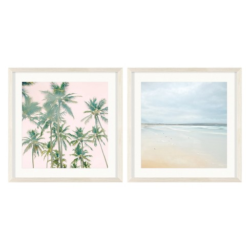 """(Set of 2) 20""""x20"""" Vintage Beach Photography Decorative Framed Wall Art - Project 62™ - image 1 of 2"""