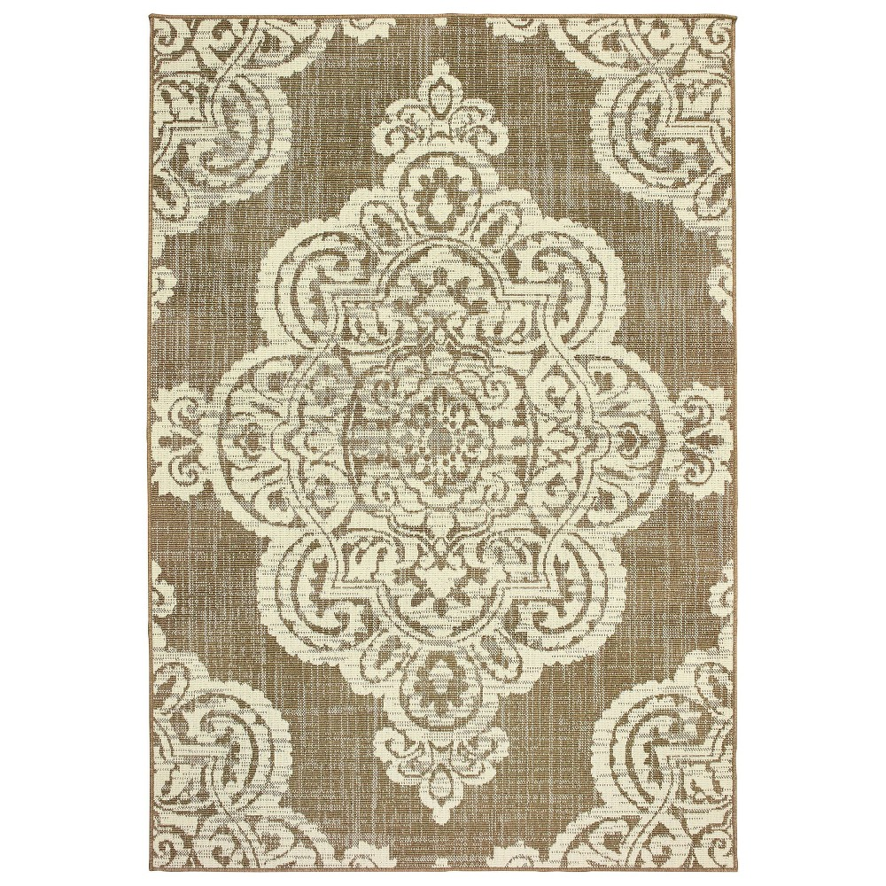 Madeline Overscale Medallion Patio Rug Tan/Ivory