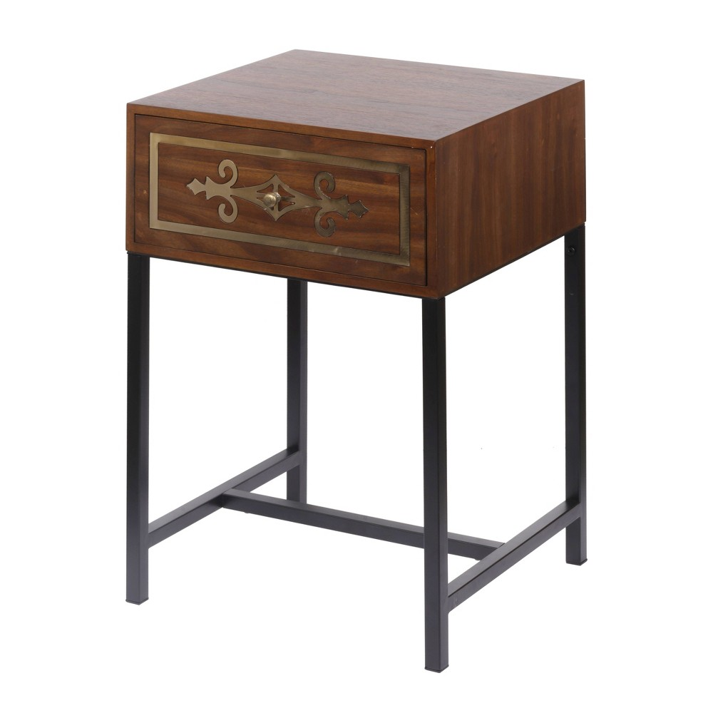 "Image of ""25"""" Raj Chest Side Table Black/Brass/Brown - A&B Home"""