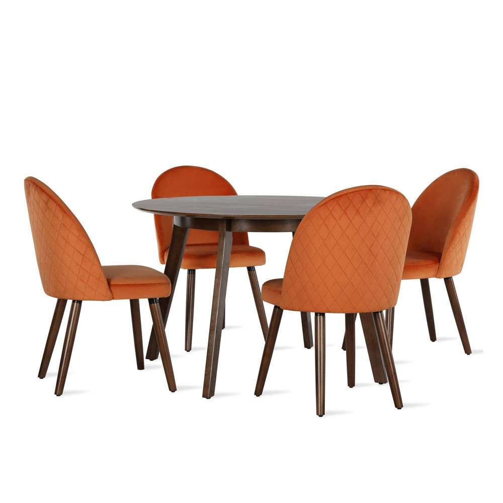 Image of 5pc Burma Mid Century Round Dining Set Orange - Novogratz