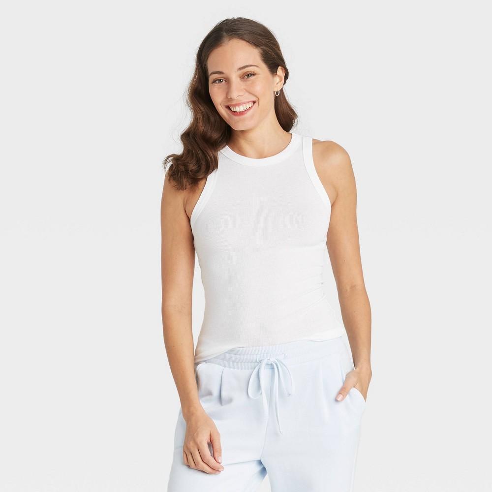 Women 39 S Plus Size Slim Fit Long Rib Tank Top A New Day 8482 White 3x