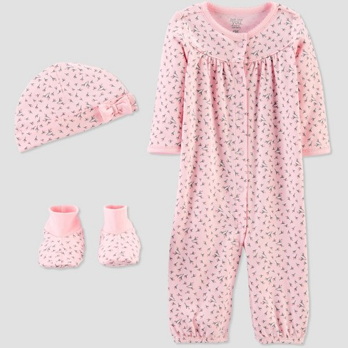 Baby Girls' Convertible Nightgown with Cap and Booties - Just One You® made by carter's Pink - image 1 of 4