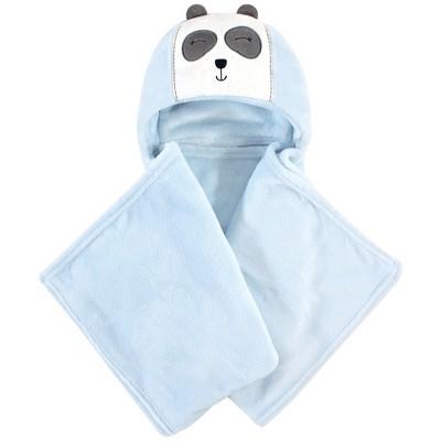 Hudson Baby Infant Boy Hooded Animal Face Plush Blanket, Modern Panda, One Size