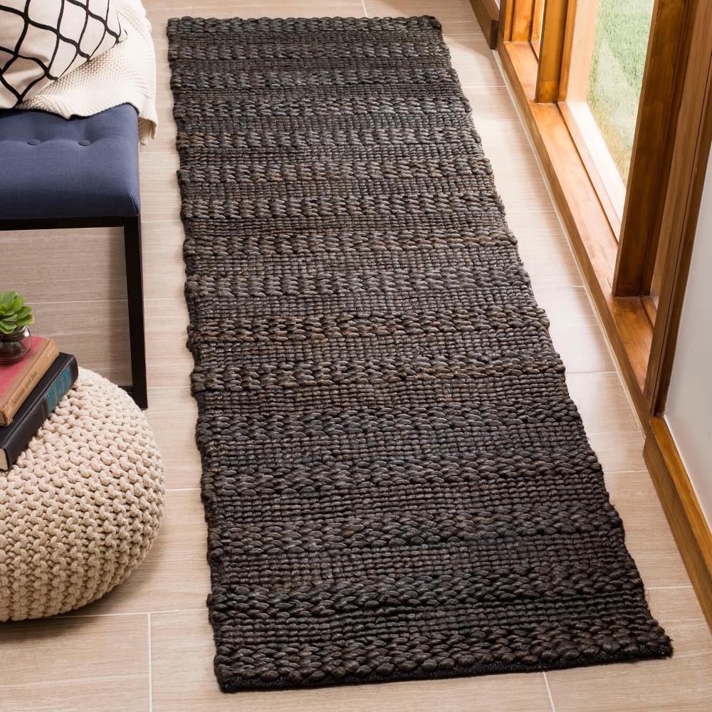 2'2X8' Woven Stripe Runner Rug Charcoal (Grey) - Safavieh