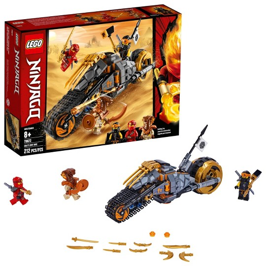 LEGO Ninjago Cole's Dirt Bike 70672 Dirt Bike Toy Building Kit with Toy Stud Shooter 212pc image number null