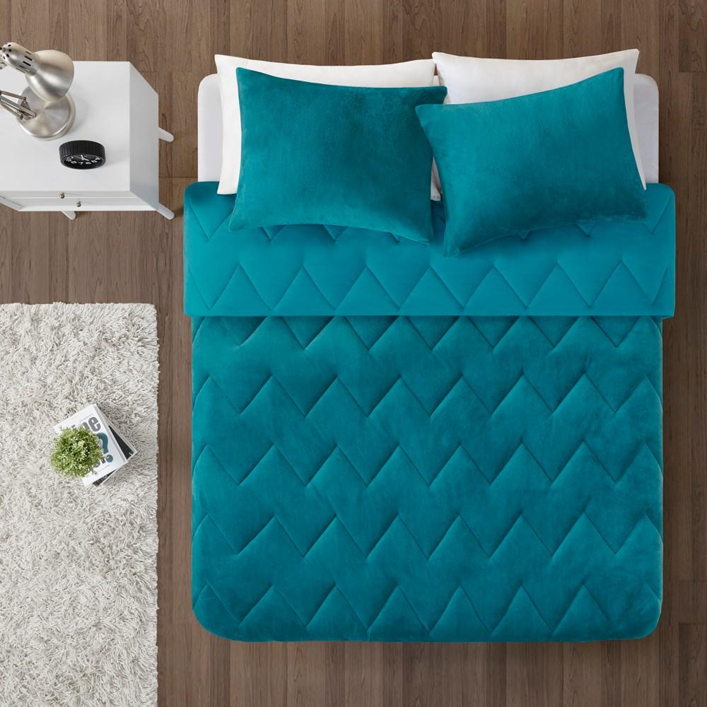 2pc Twin Twin Xl Jasper Chevron Reversible Comforter Mini Set Teal