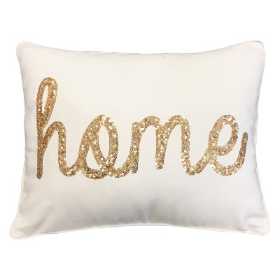 Décor Therapy 14 x18  Home Sequin Script Faux Linen Throw Pillow Cream/Gold