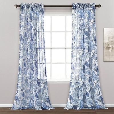 Set of 2 Cynthia Jacobean Window Curtain Panels Blue - Lush Décor