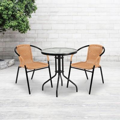 Flash Furniture 2 Pack Rattan Indoor-Outdoor Restaurant Stack Chair