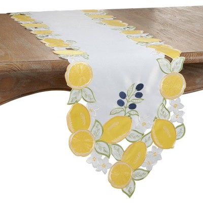 70 X 15 Polyester Lemon Cutwork And Embroidery Table Runner Yellow Saro Lifestyle Target