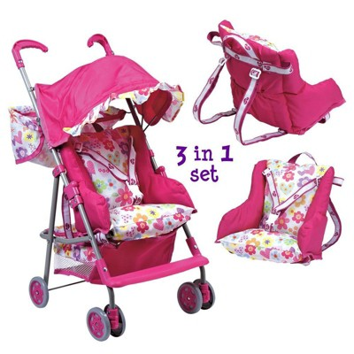 Adora Doll Accessories 3-in-1 Stroller, Car Seat, Back Pack Carrier, Perfect for Kids 3 Years & up,  Pink