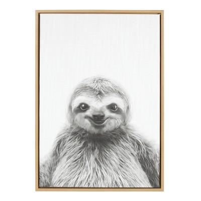 Kate & Laurel 33 x23  Sylvie Sloth Animal Print And Portrait By Simon Te Tai Framed Wall Canvas Wood