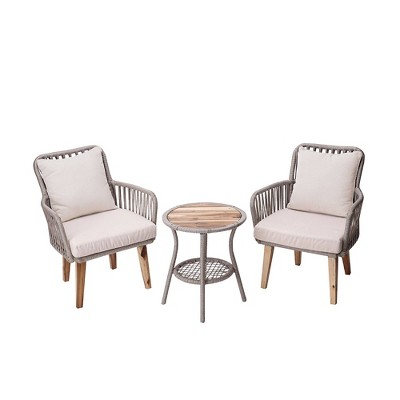 3pc Wicker Patio Bistro Set with Cushions - Peaktop
