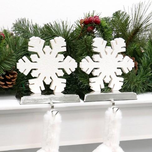 wood snowflake christmas stocking holder 2ct wondershop target