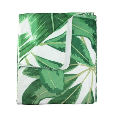 "Northlight 50"" x 60"" Tropical Leaves Plush Fleece Throw Blanket - White/Green"