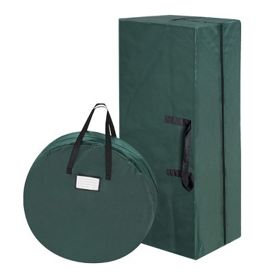 Hastings Home Christmas Tree and Wreath Canvas Storage Bags With Handles- Green/Black, Set of 2