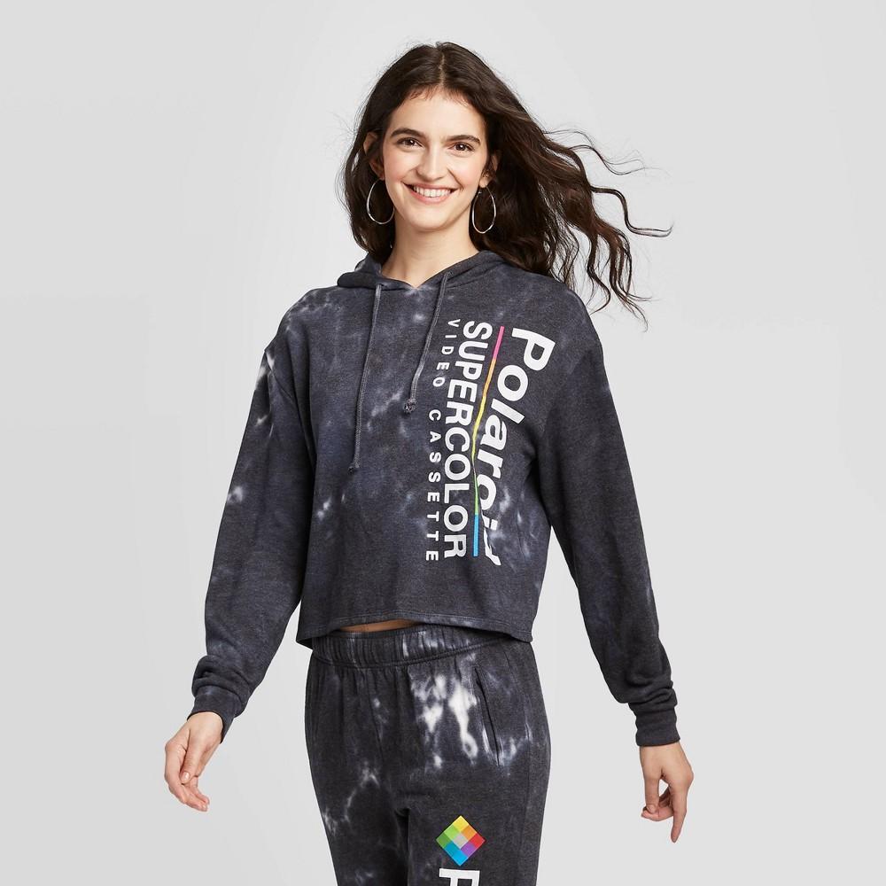 Image of Women's Polaroid Cropped Washed Hoodie Sweatshirt (Juniors') - Black L, Women's, Size: Large
