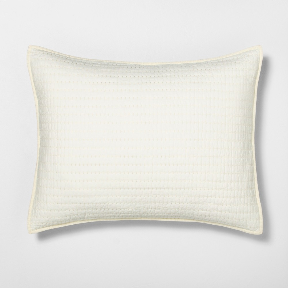 Standard Pillow Sham Quilted Solid Sour Cream - Hearth & Hand with Magnolia, White