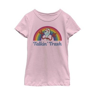 Girl's Toy Story Forky Talkin' Trash Rainbow T-Shirt