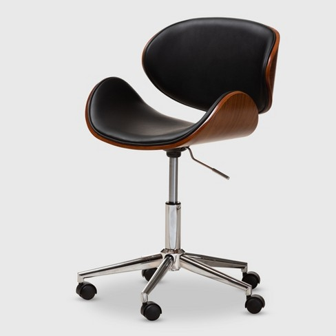 Fine Ambrosio Faux Leather Upholstered Chrome Finished Metal Adjustable Office Chair Black Baxtonstudio Spiritservingveterans Wood Chair Design Ideas Spiritservingveteransorg