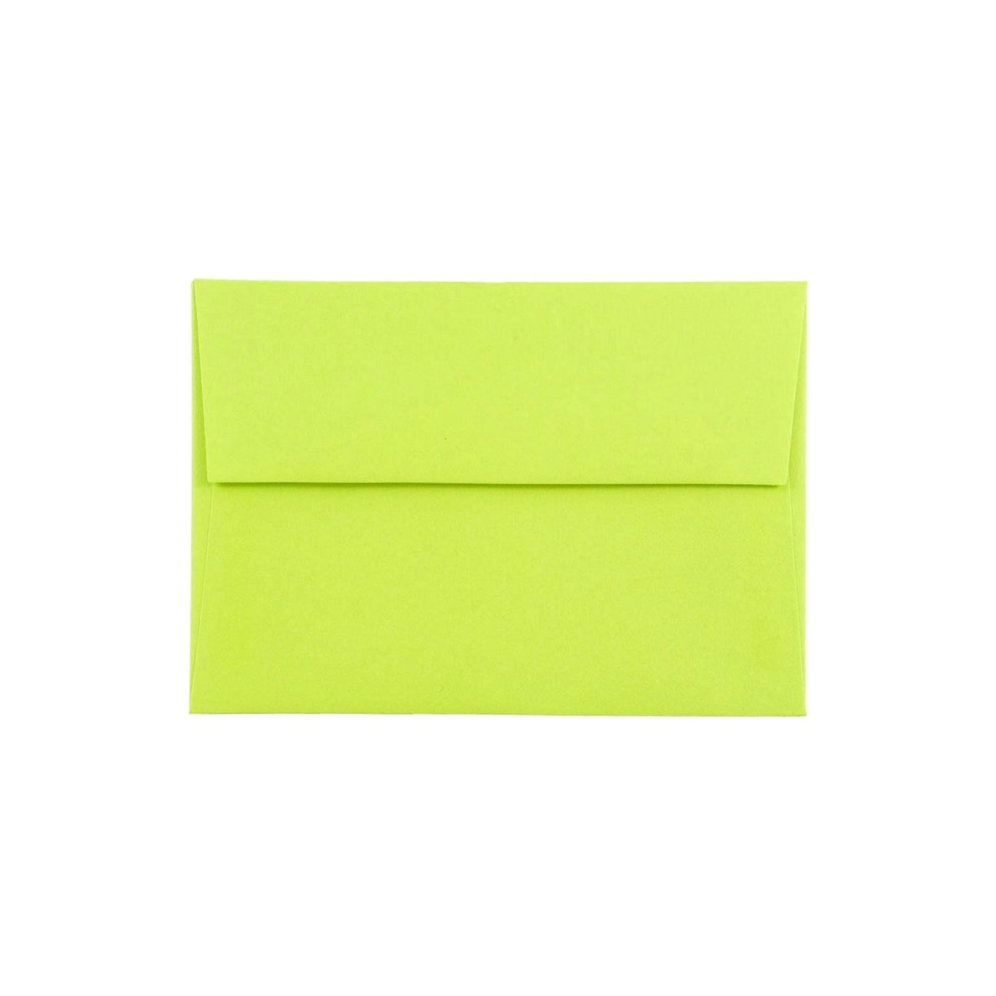Jam Paper Brite Hue 4bar A1 Envelopes, 3 5/8 x 5 1/8, 50 per pack, Ultra Lime, New Lime