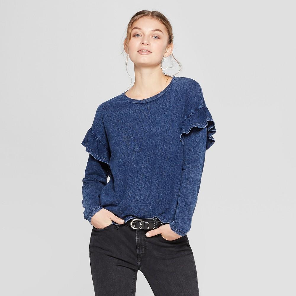 Women's Long Sleeve Ruffle T-Shirt - Universal Thread Indigo (Blue) XS