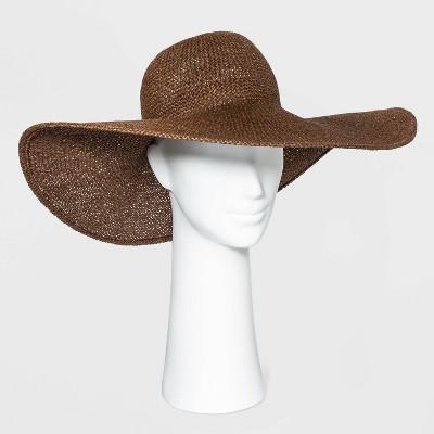 Women's Wide Brim Open Weave Straw Floppy Hat - A New Day™