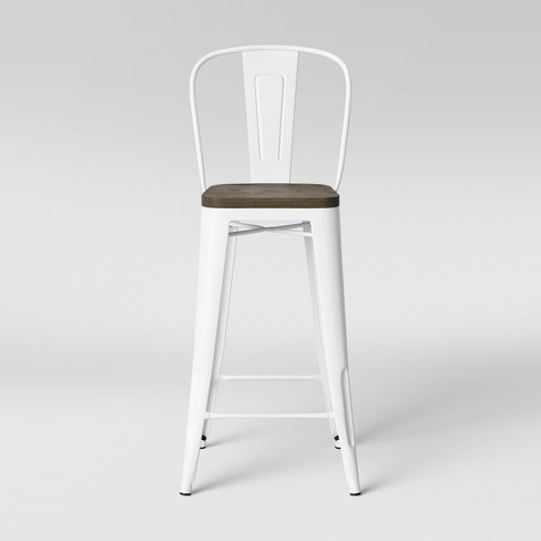 Stupendous Carlisle Wood Seat Backed Barstool Matte White Threshold Unemploymentrelief Wooden Chair Designs For Living Room Unemploymentrelieforg