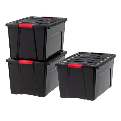 IRIS 3pk 72qt Stack & Pull Storage Box