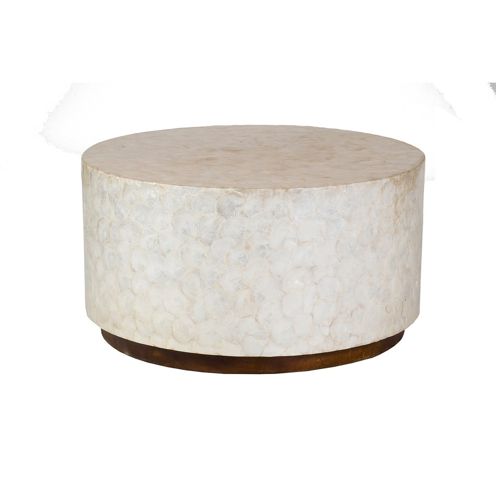 Admirable Rowden Capiz Coffee Table Off White Beige East At Main Evergreenethics Interior Chair Design Evergreenethicsorg