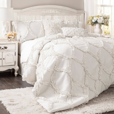 Avon Ogee Texture Comforter Set (King)White 3pc - Lush Décor
