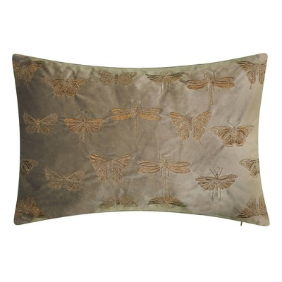 """13""""x20"""" Butterfly Throw Pillow Gray - Edie@Home"""