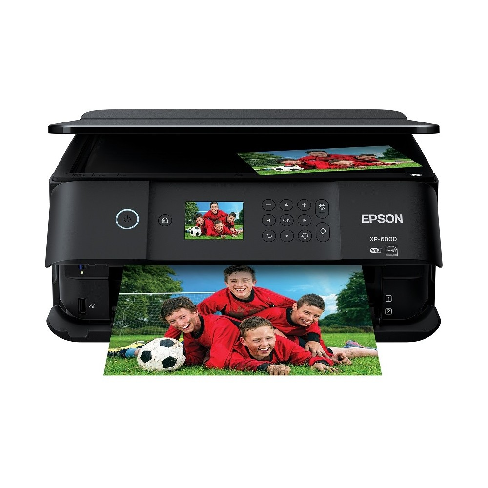 Epson XP6000 Inkjet Printer - Black (C11CG18201) Wireless Small-in-One offering superior photo quality, with 5-color inks, fast photo/document speeds, borderless prints up to 8  x 10 , auto 2-sided printing and more. Color: Black.